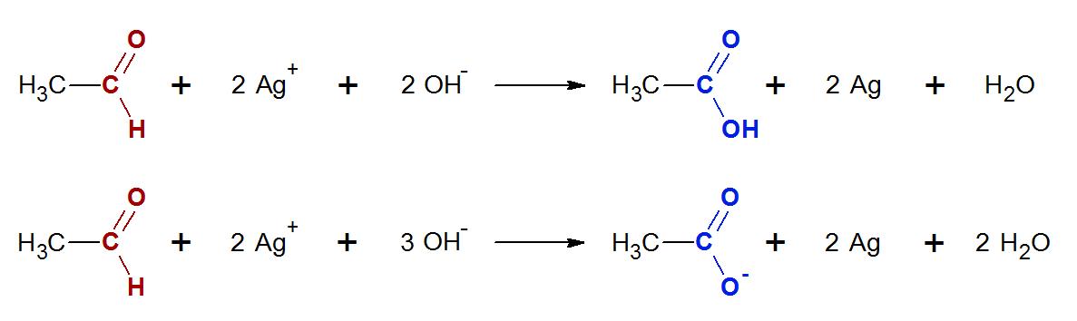 Az acetaldehid ezüsttükörpróbájának egyenlete kétféleképpen is felírható. A legtöbb tankönyvben és a javítási útmutatóban az első változat szerepel, de az érettségin a másodikat is elfogadják.